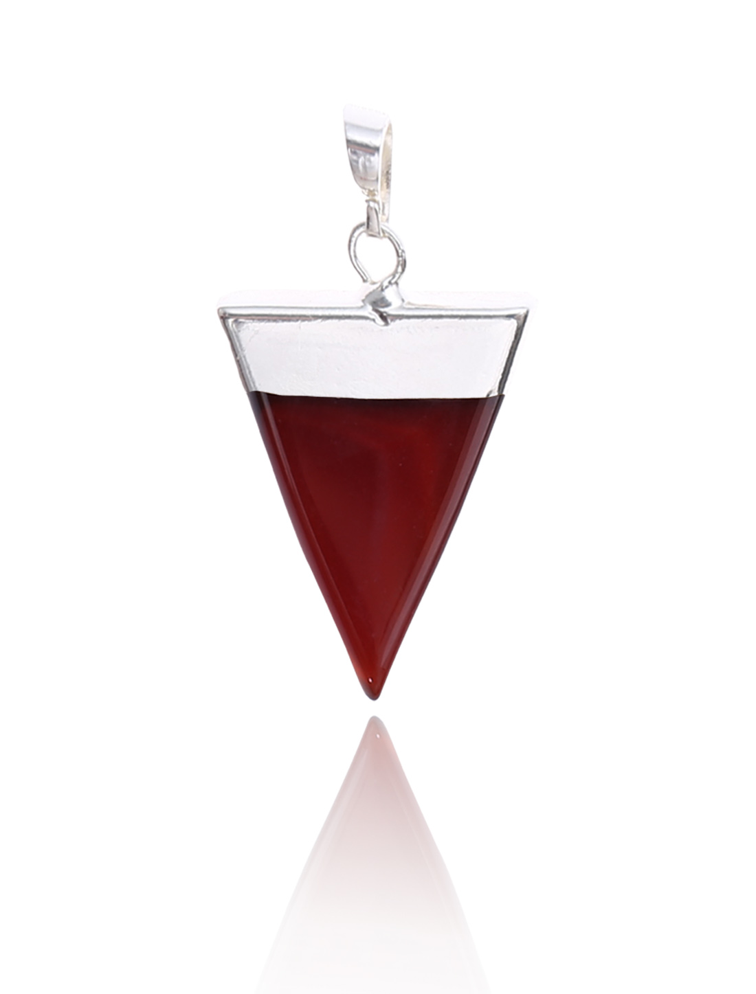 Red Agate Pyramid Healing Point Reiki Chakra Gemstone Silver Plated Pendant For Necklace