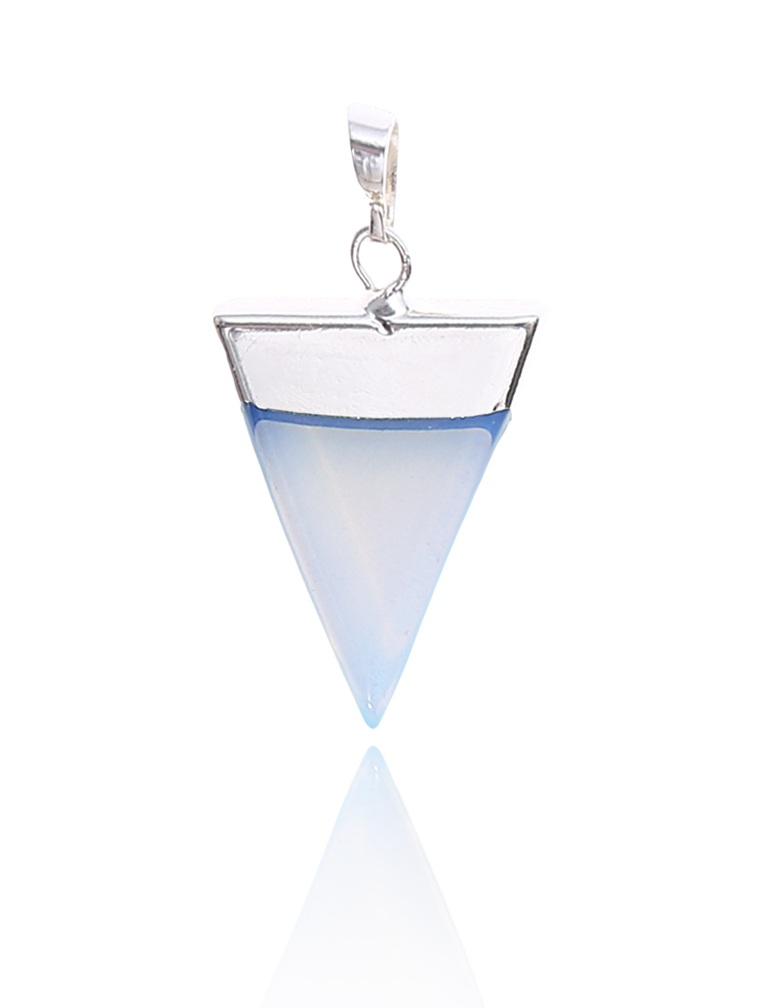 Opalite Pyramid Healing Point Reiki Chakra Gemstone Silver Plated Pendant For Necklace