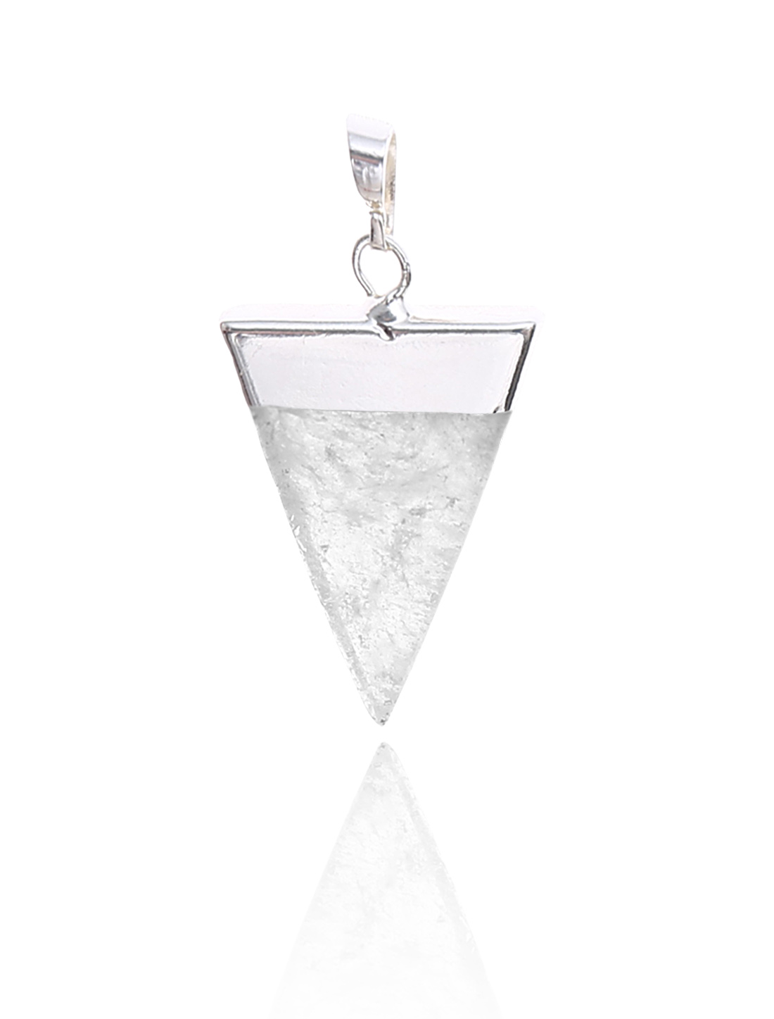 Rock Crystal Pyramid Healing Point Reiki Chakra Gemstone Silver Plated Pendant For Necklace