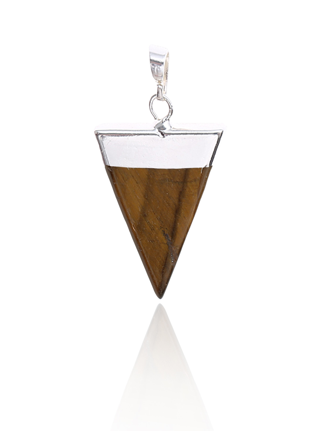 Tiger's Eye Pyramid Healing Point Reiki Chakra Gemstone Silver Plated Pendant For Necklace