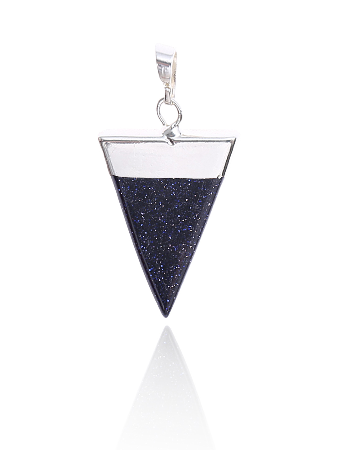 Blue Sand Stone Pyramid Healing Point Reiki Chakra Gemstone Silver Plated Pendant For Necklace
