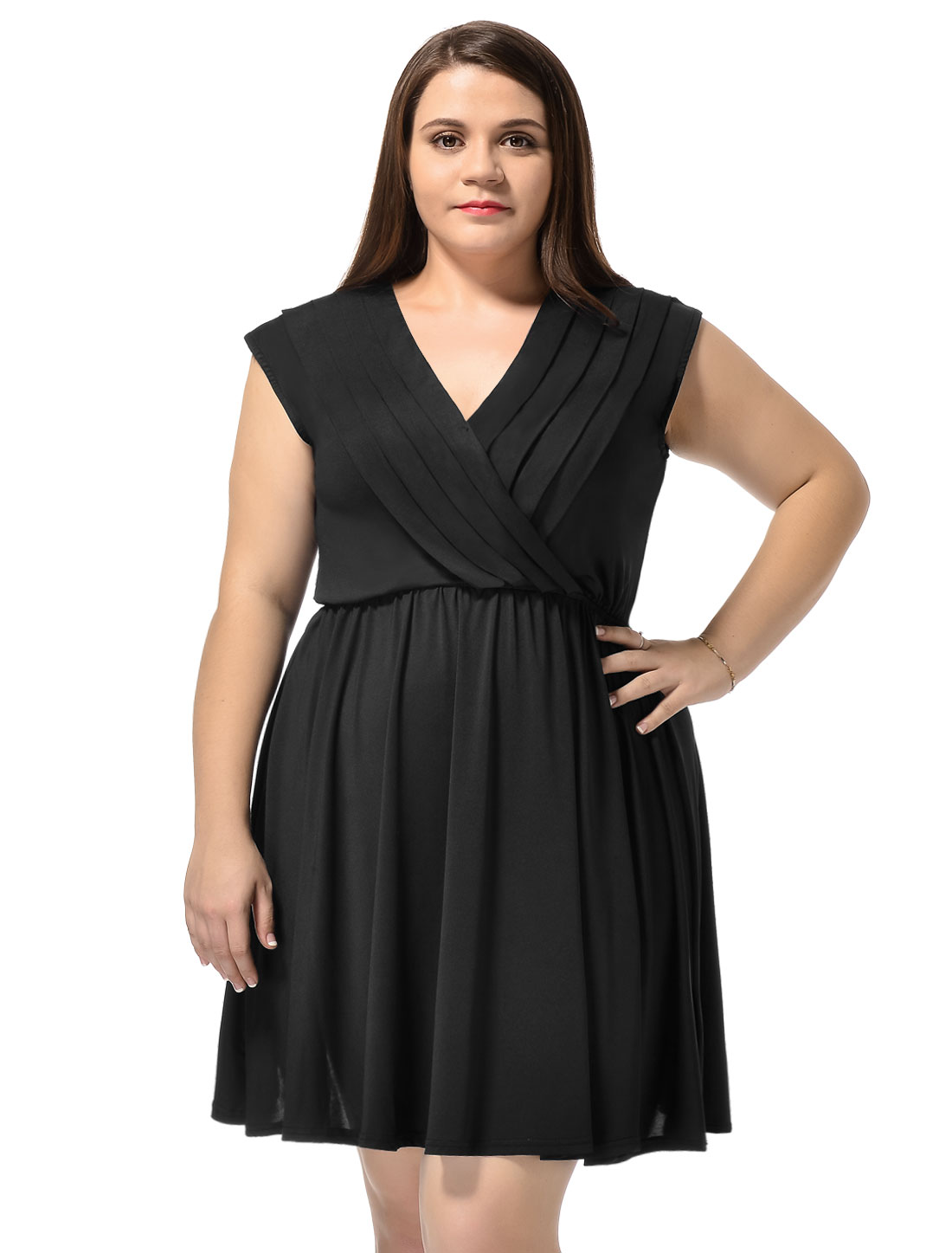 Women Surplice Neckline Cap Sleeves Plus Size A-Line Dress Black 2X