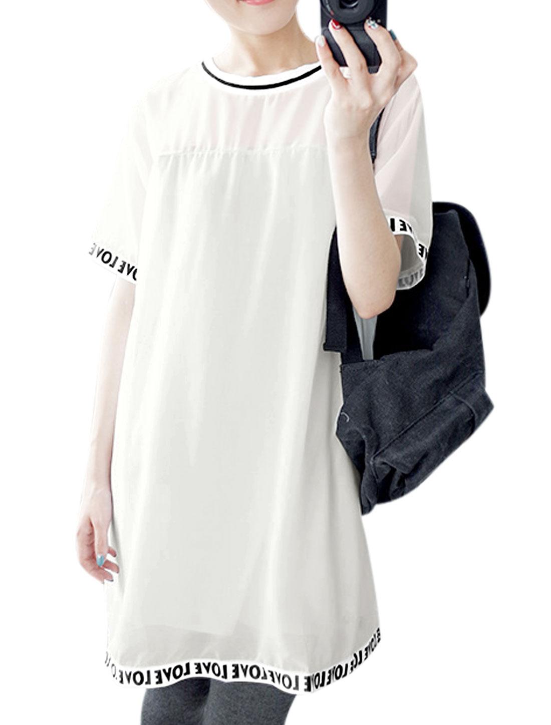 Ladies Paneled Letters Prints Trim Chiffon T-Shirt Dress White S