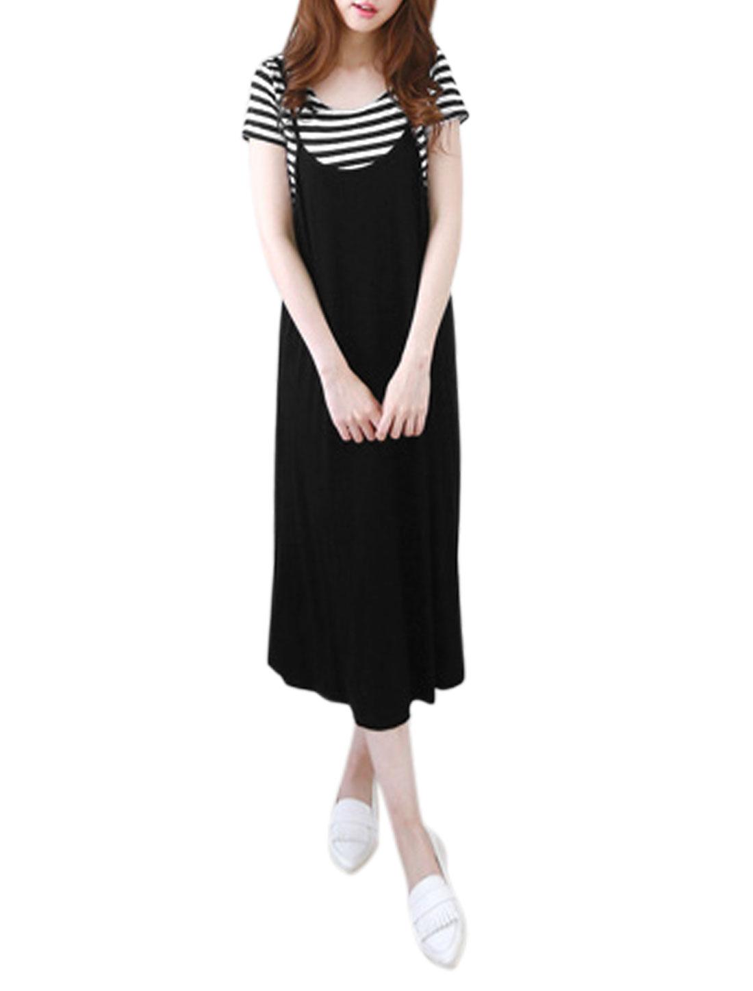 Ladies Stripes T-Shirt w Spaghetti Strap Unlined Casual Cami Dress Black XS