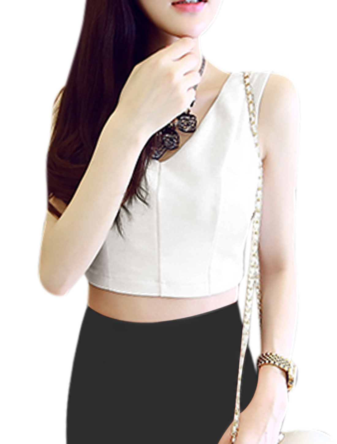 Ladies V Neck Sleeveless Casual Cropped Top Tee White M