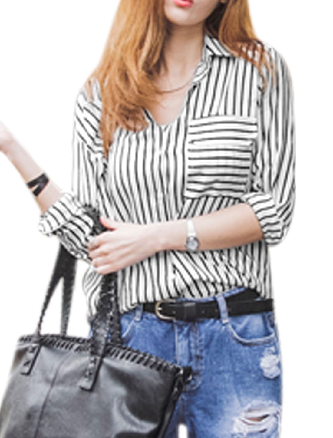 Ladies Long Sleeve Stripes High-Low Hem Button Down Casual Shirts White XS
