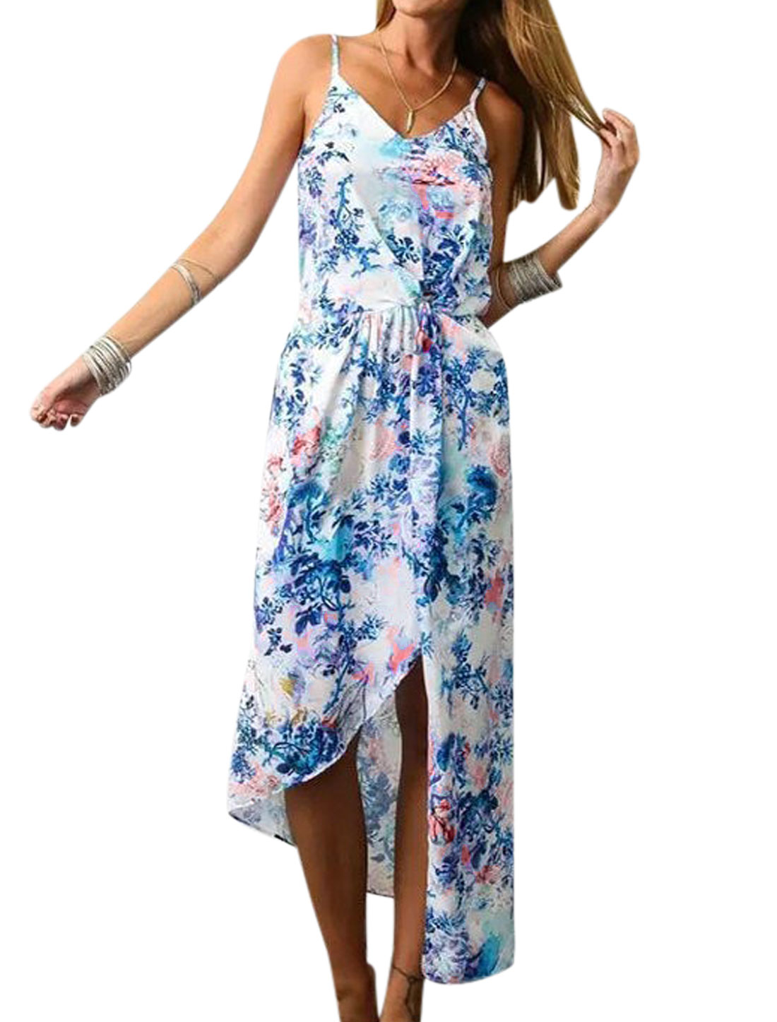Ladies Asymmetric Hem Floral Print Unlined Casual Dress White Blue L