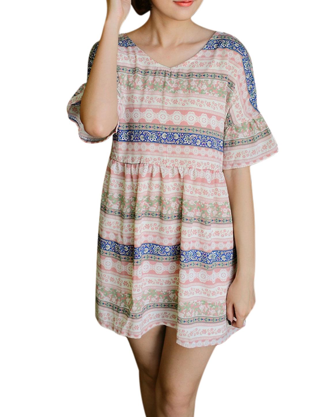 Women Short Sleeve V Neck Cut Out Back Novelty Print Dresses Pale Pink S