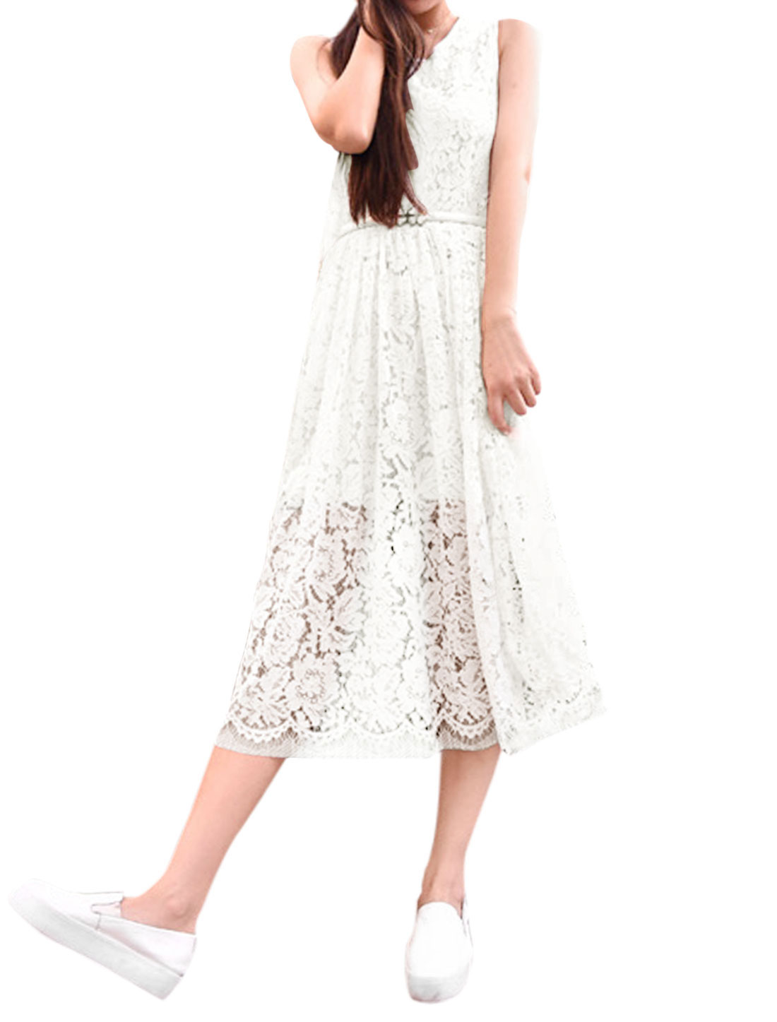 Women Round Neck Sleeveless Partially Lined Lace Dresses White S