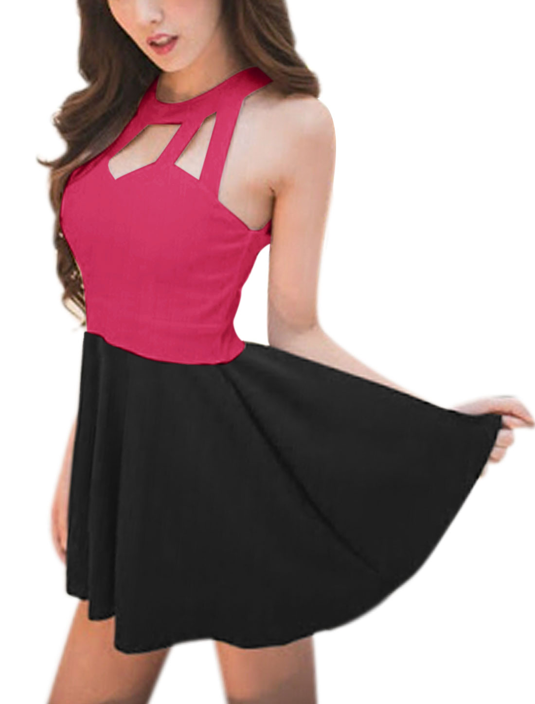 Ladies Round Neck Sleeveless Color Block A Line Dresses Fuchsia Black XS
