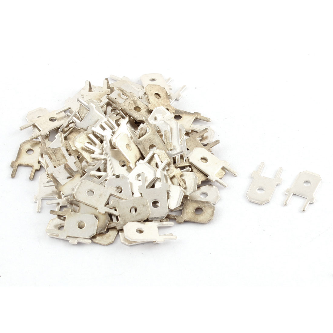 100 Pcs Soldering Non Insulated Bare Ring Lug Terminal Connector Silver Tone 13MM