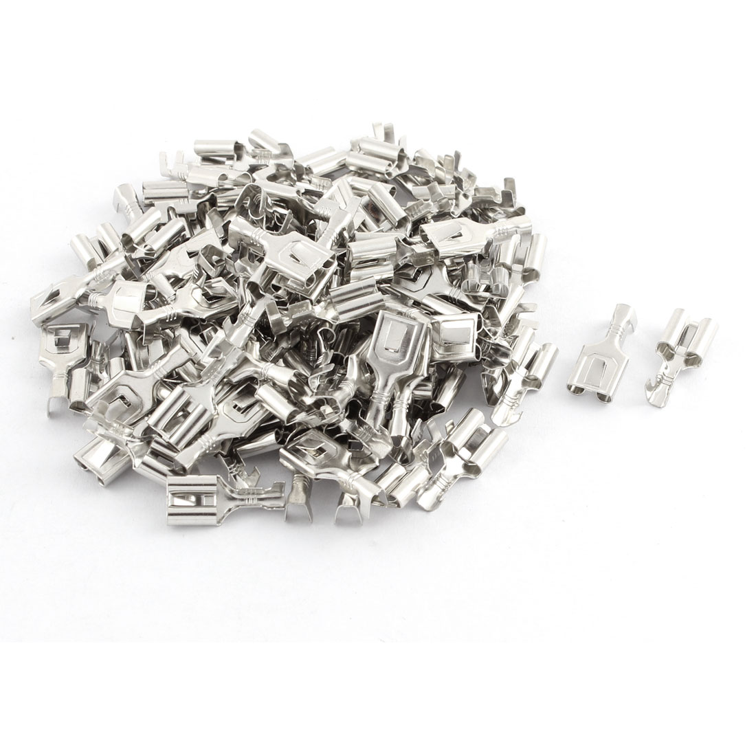 Car Speaker 7.8mm Female Spade Terminal Wire Connector Silver Tone 100 Pcs