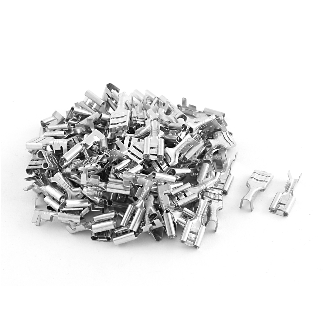 100 Pcs Electronic Components 6.3mm Non-Insulated Spade Female Terminals