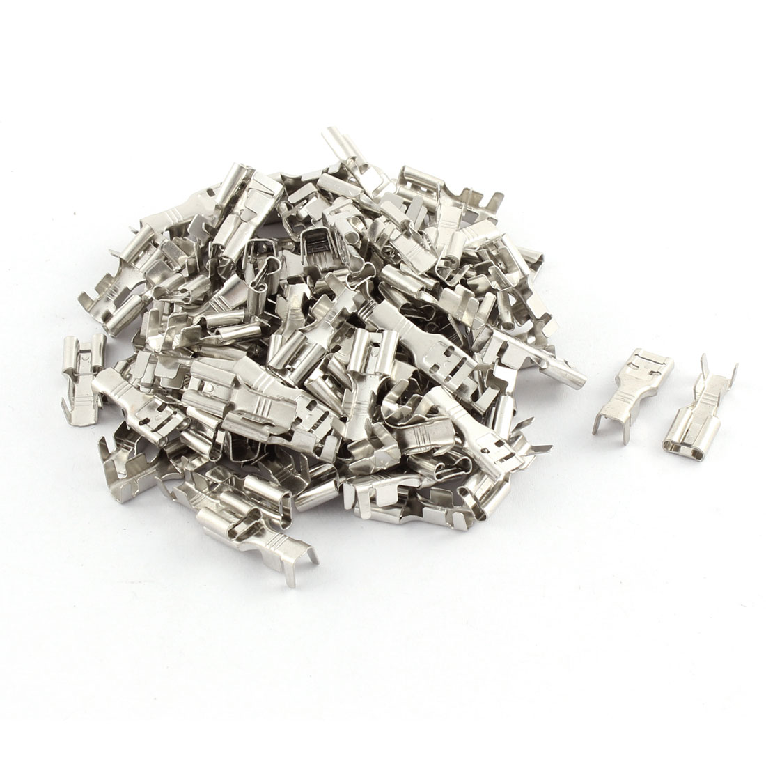 100 Pcs Car Speaker 7.8mm Female Spade Terminal Wire Connector Silver Tone