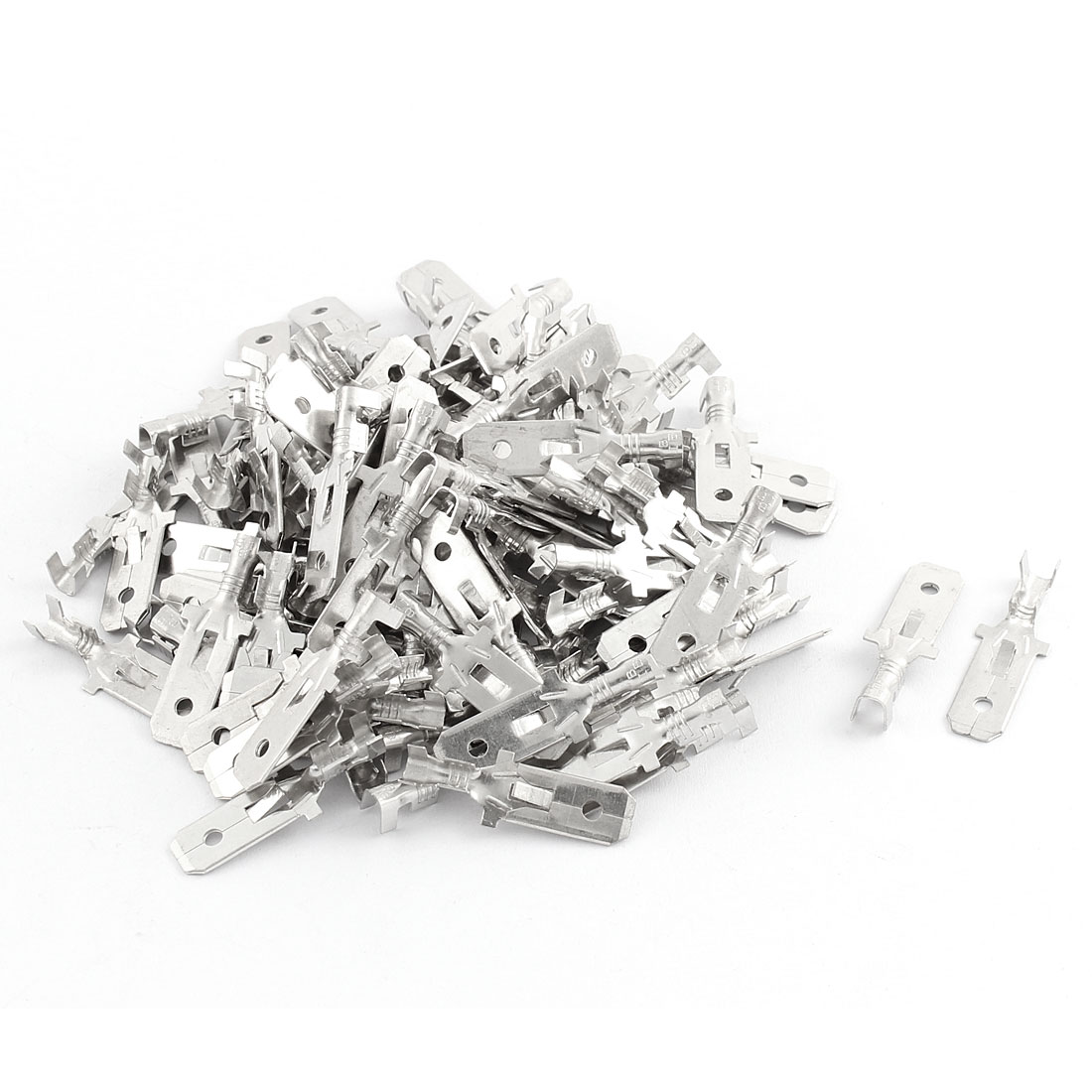 100 Pcs Metal 7.8mm Male Spade Terminal for Nylon Mult Pin Wire Connector 29mm