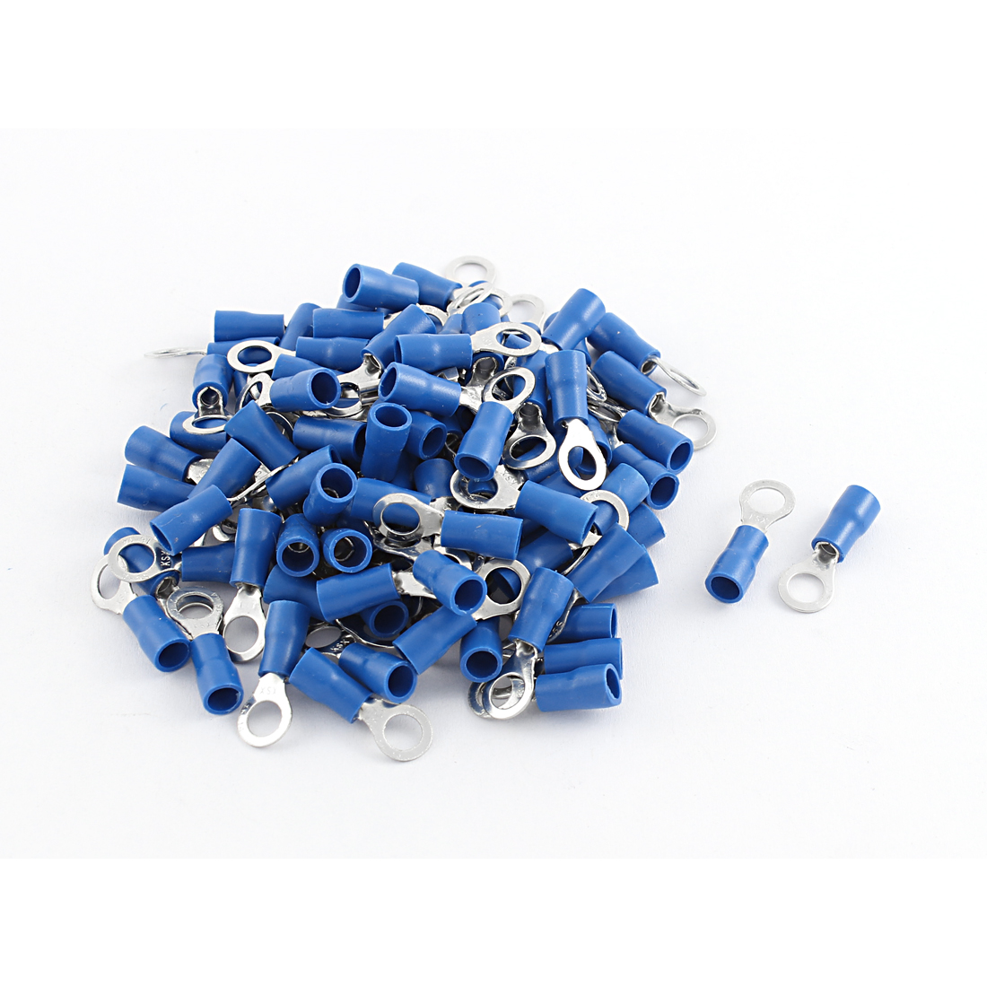 100pcs Ring Tongue Pre Insulated Terminals Connector Blue for AWG 16-14 Cable