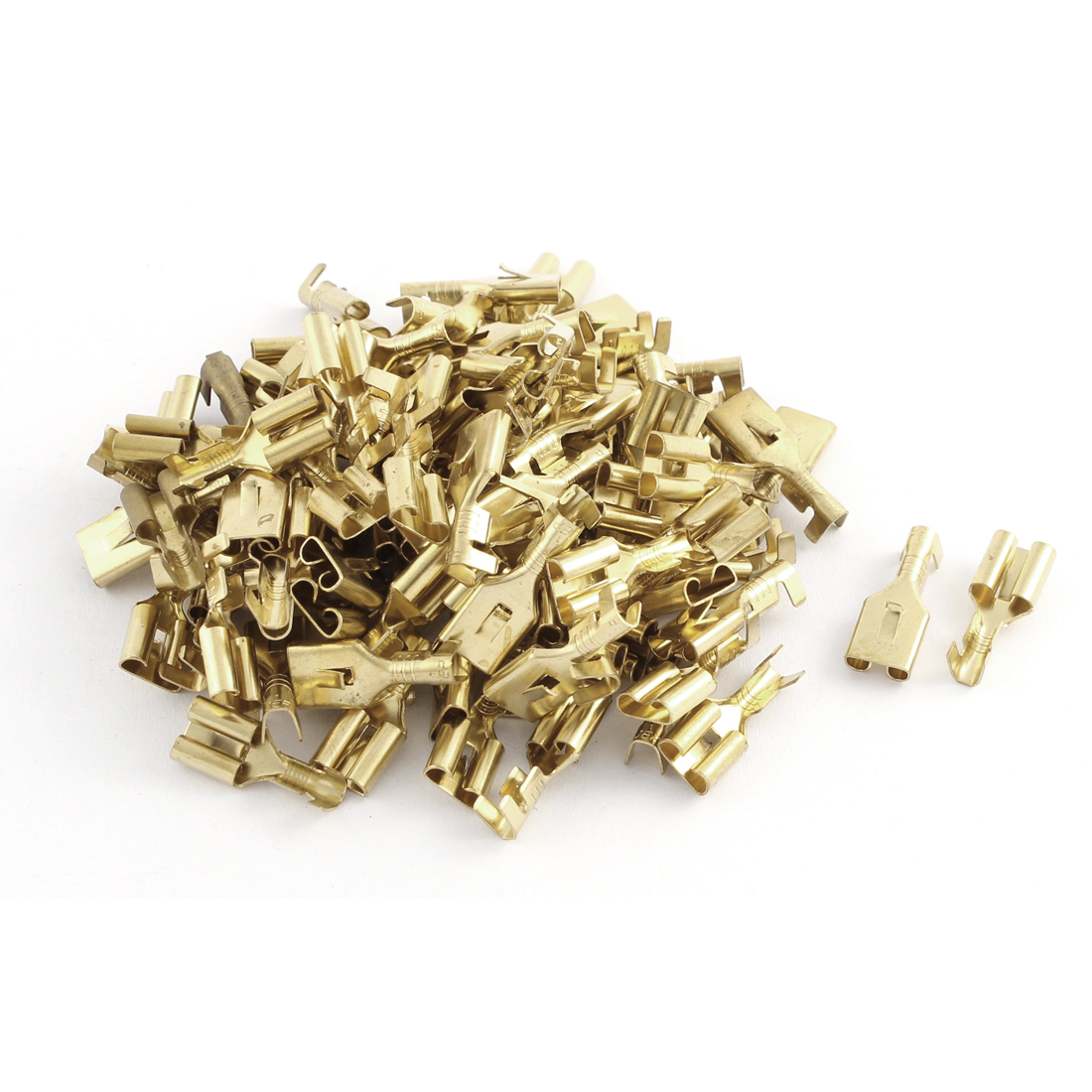 100 Pcs 6.3mm Insert Spring Solder Cold Pressed Terminal Connector