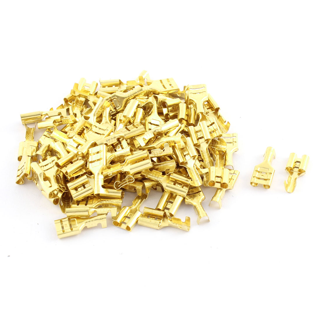 100pcs Gold Tone Metal Female Spade Terminals for 6.3mm Multi Connector