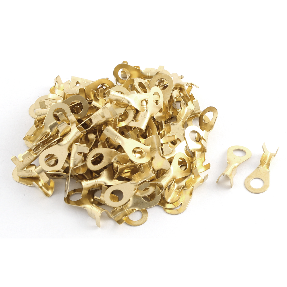100 Pcs Copper Tongue 12-10AWG Wire Cable Connecting Rewirable Non-insulated Ring Terminals