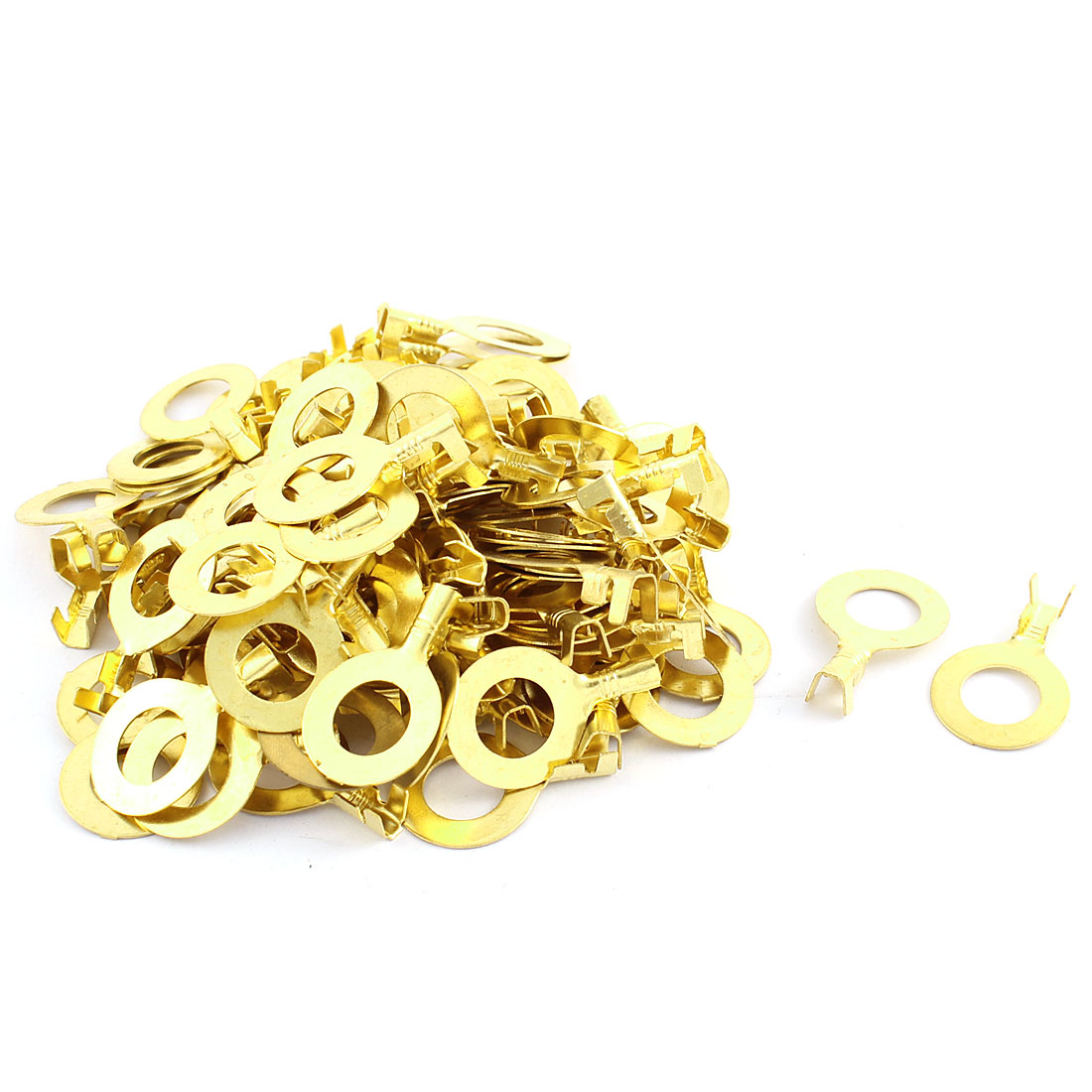 100 Pcs 5mm Dia Wire Non Insulated Ring Crimp Terminal Connectors 10mm