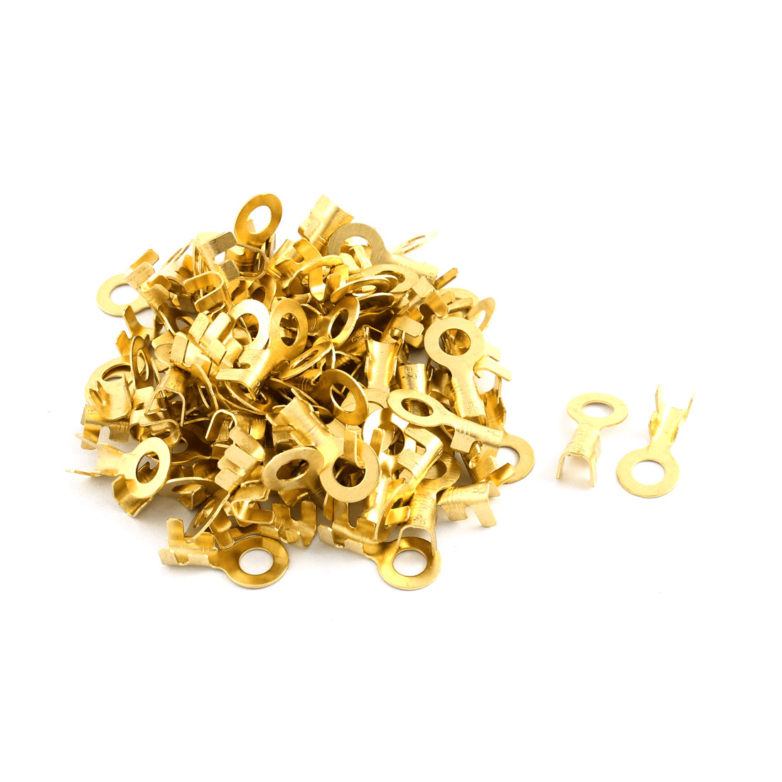 100 Pcs Open Cable Connector Ring Tongue Copper Passing Through Lug Terminal 21mm