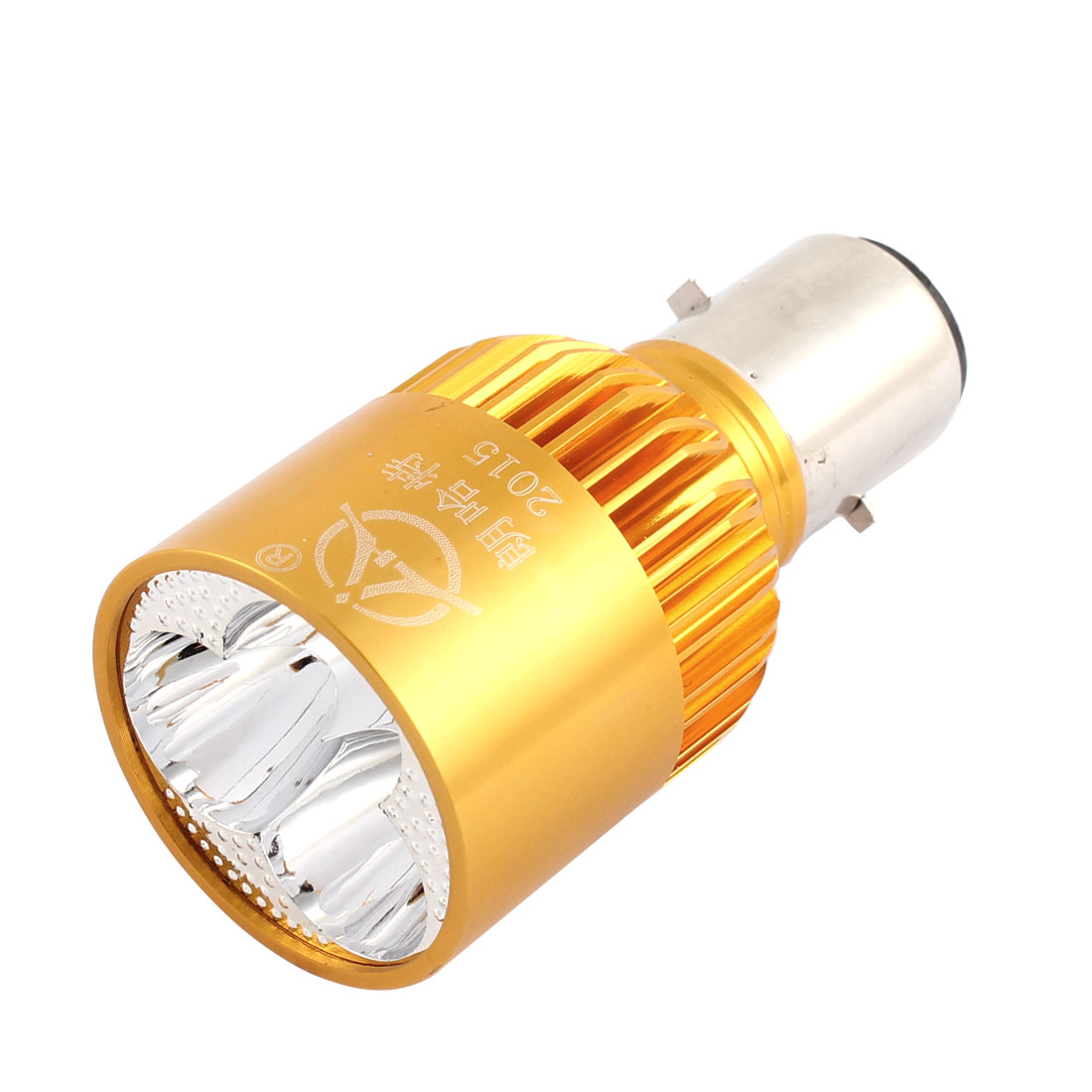 Motorbike Gold Tone Aluminum Shell White LED Head Lamp Fog Driving Spot Light 9W