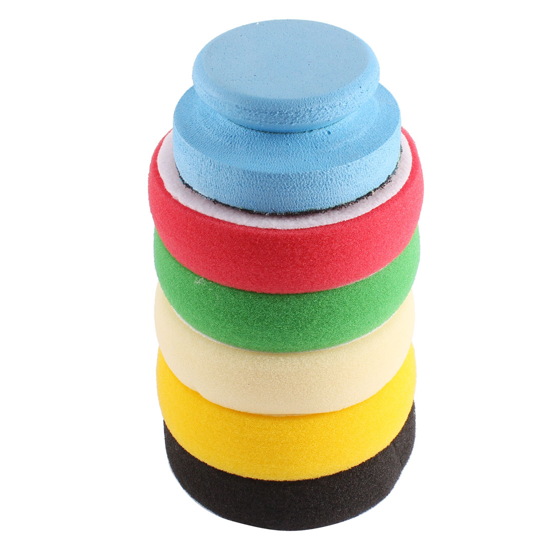 5 Pcs 90mm Dia Colorful Car Body Detailing Waxing Polishing Sponge Pad w Handle