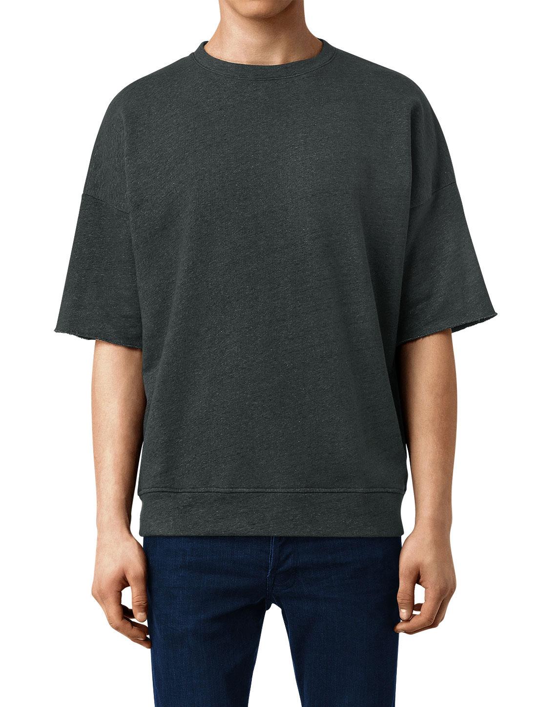 Man Short Sleeved Drop-Shoulder Crew Neck Tee Shirt Dark Gray M