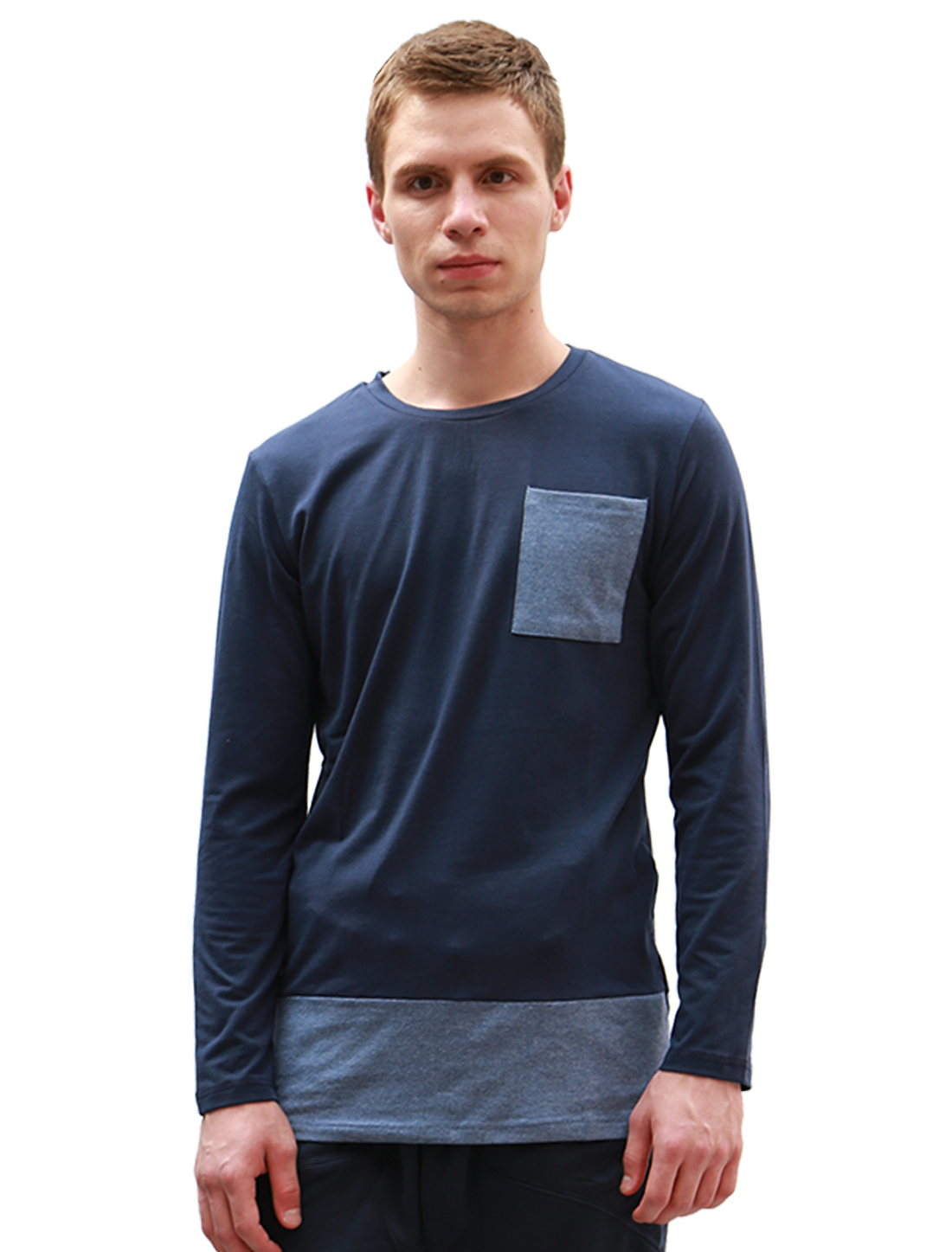 Men Contrast Color Longline Long Sleeve Chest Pocket Tee Shirt Navy Blue S