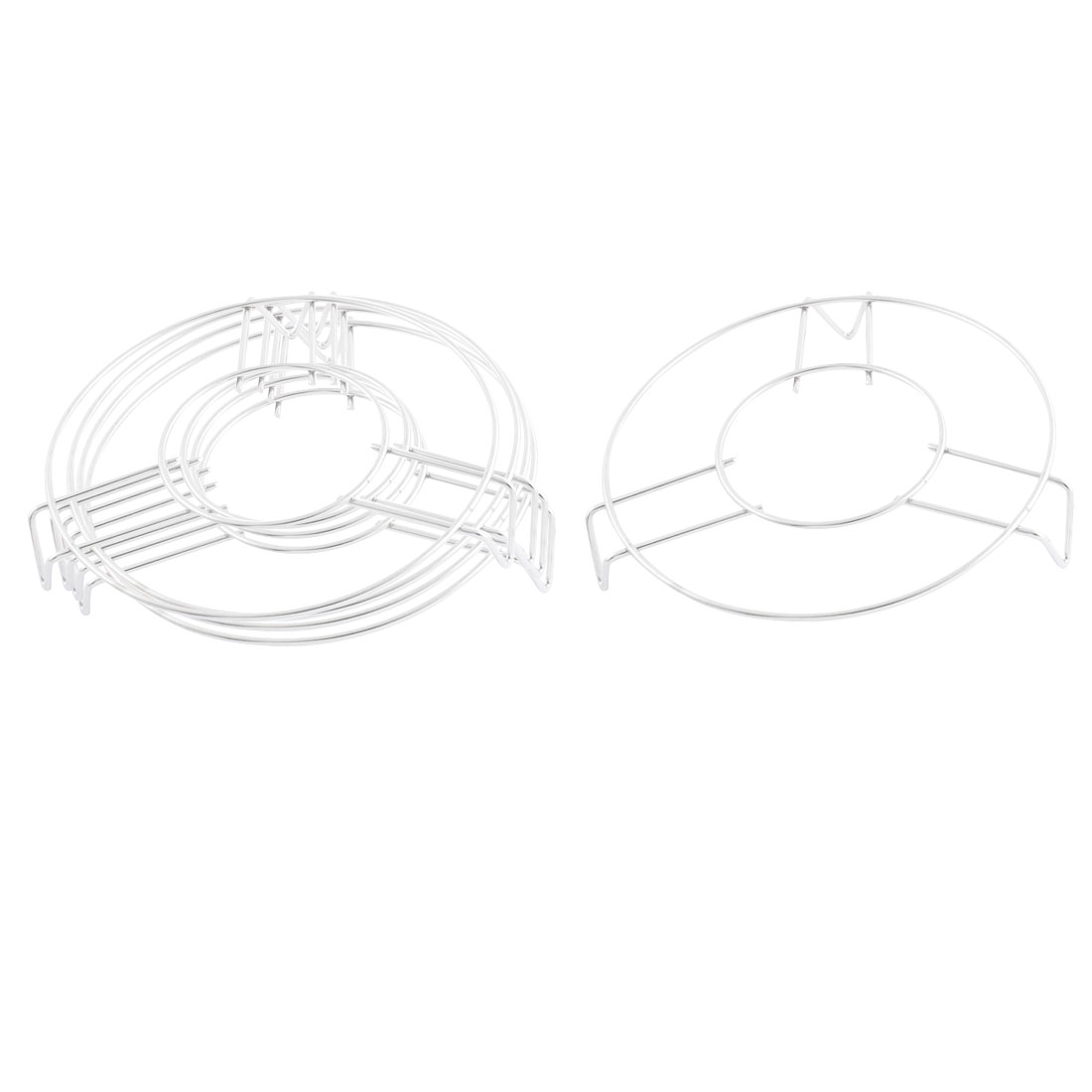 Household Kitchen Metal Wire Food Steaming Steamer Rack Stand Silver Tone 16cm Diameter 5pcs