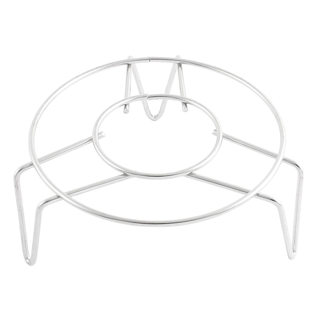 Household Cookware Metal Round Food Steaming Steamer Rack Stand 4.7 Inch Diameter Silver Tone