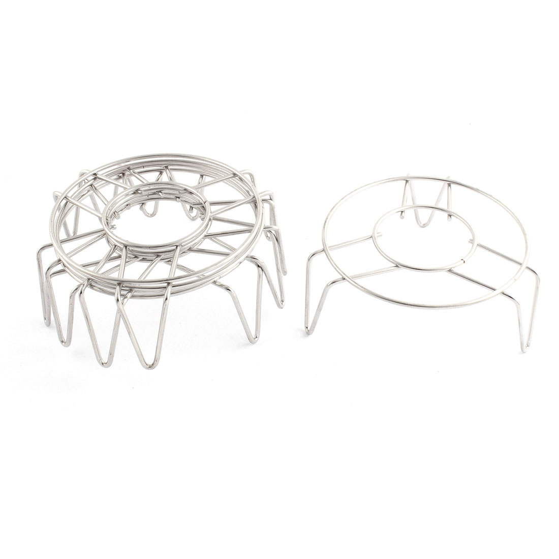 Kitchen Metal Wire Round Shaped Food Steaming Steamer Rack Stand Silver Tone 4.7 Inch Diameter 5pcs