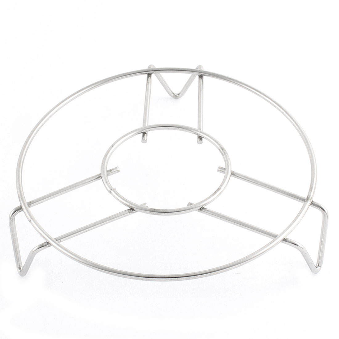 Household Kitchen Metal Round Food Cooking Steaming Rack Stand 14cm Diameter Silver Tone