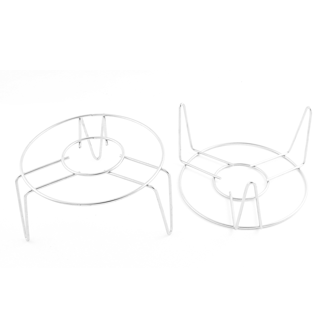 Kitchenware Metal Wire Round Food Steaming Rack Stand 14cm Diameter 2pcs Silver Tone