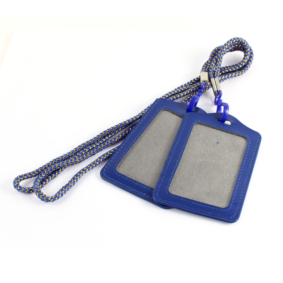 School Faux Leather Vertical Style ID Name Card Tag Badge Holder Carrier w Lanyard Blue 2pcs