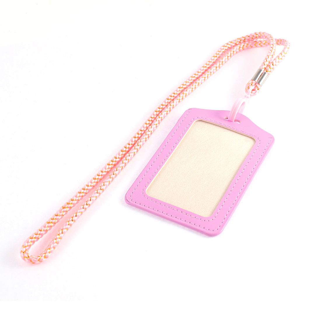 School Office Faux Leather Vertical Business ID Work Card Badge Holder w Neck Strap Lanyard Pink
