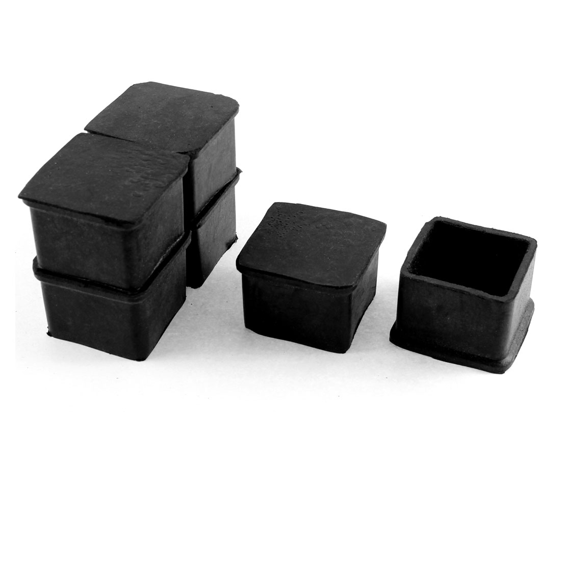 40mm x 40mm Rubber Square Furniture Chair Leg Cap Foot Cover Holder Protective Pad 6pcs