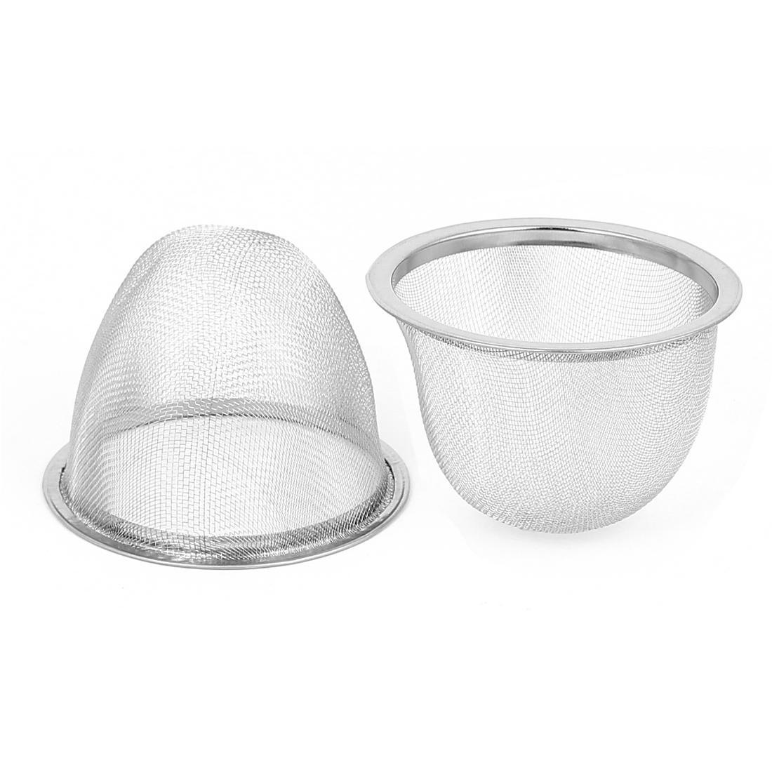 Household Metal Mesh Net Basket Tea Leaves Spice Strainer Teapot Filter 70mm Dia 2pcs