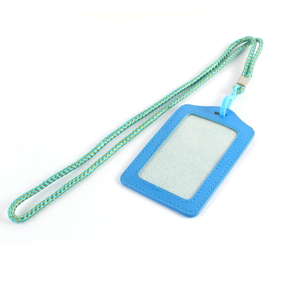 Business Worker Faux Leather Vertical Style Work Name ID Card Holder w Neck Strap Sky Blue