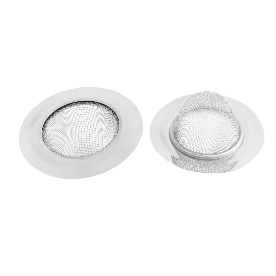 Bathroom Metal Net Hole Design Basin Bathtub Sink Drain Strainer Stopper Basket 11.5cm Dia 2pcs