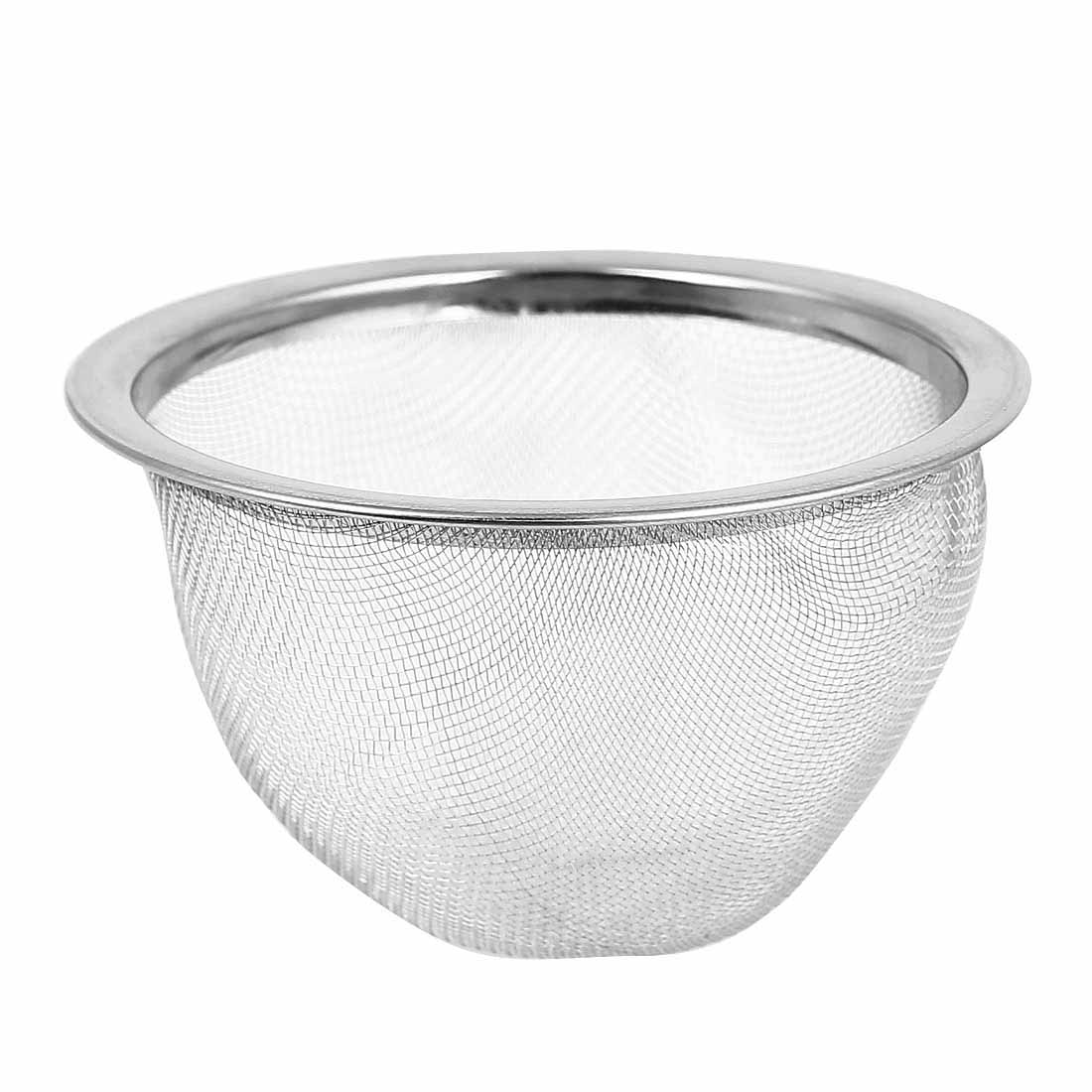 Silver Tone Metal Mesh Hole Design Tea Leaves Spice Strainer Teapot Filter 76mm Dia