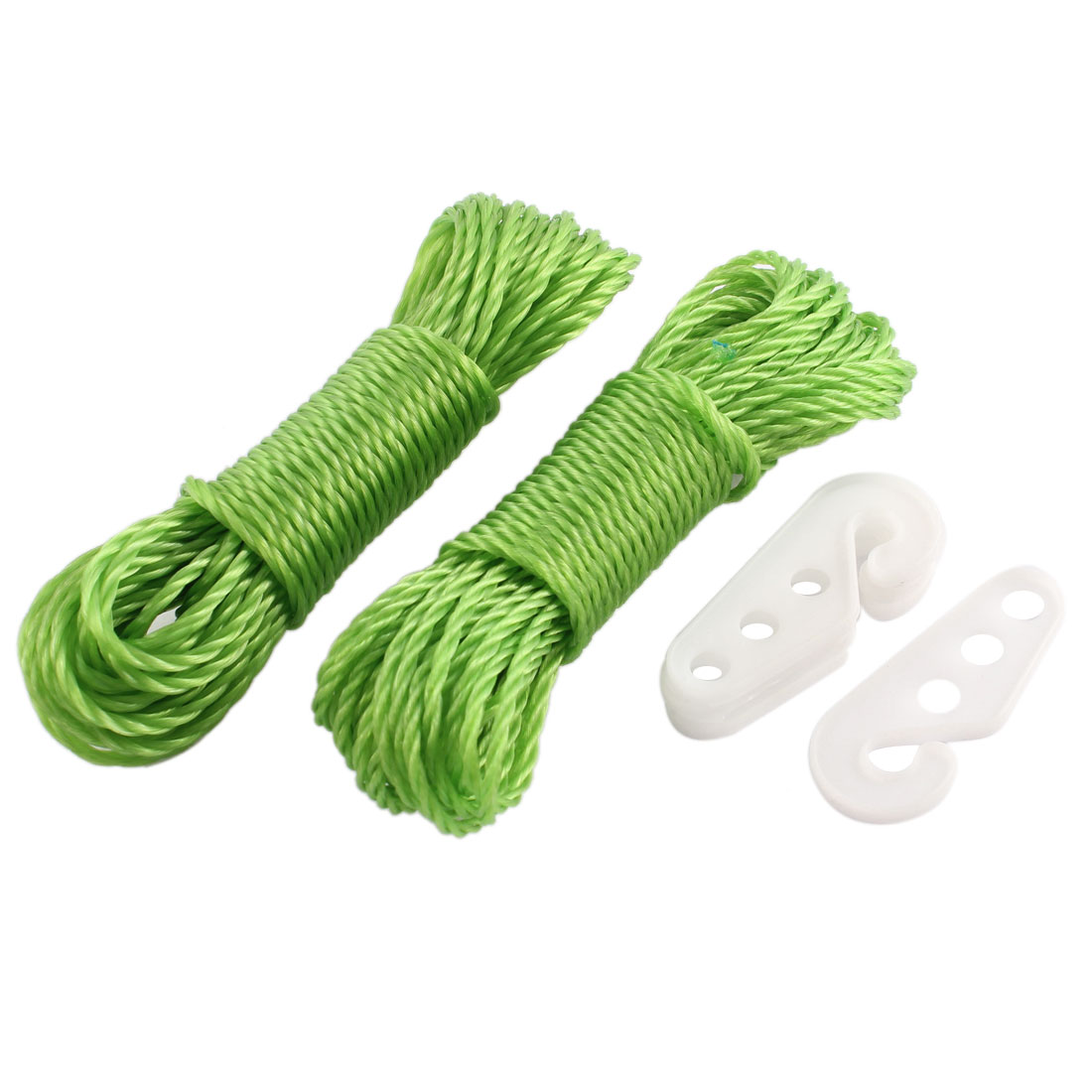 Camping Household Green Twisted Clothesline Clothes Hanging Line Rope String w Hooks 10m Length 2pcs