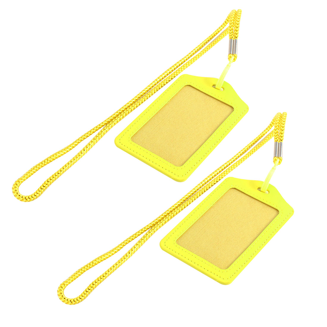 Worker Faux Leather Vertical ID Name Employee Card Tag Badge Holder Carrier w Lanyard 2pcs Yellow