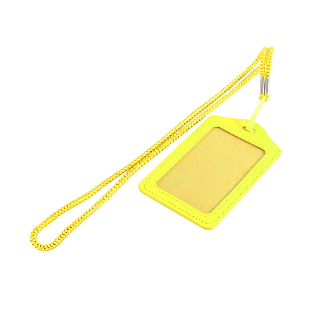 School Company Faux Leather Vertical Work Name ID Card Tag Badge Holder Yellow w String