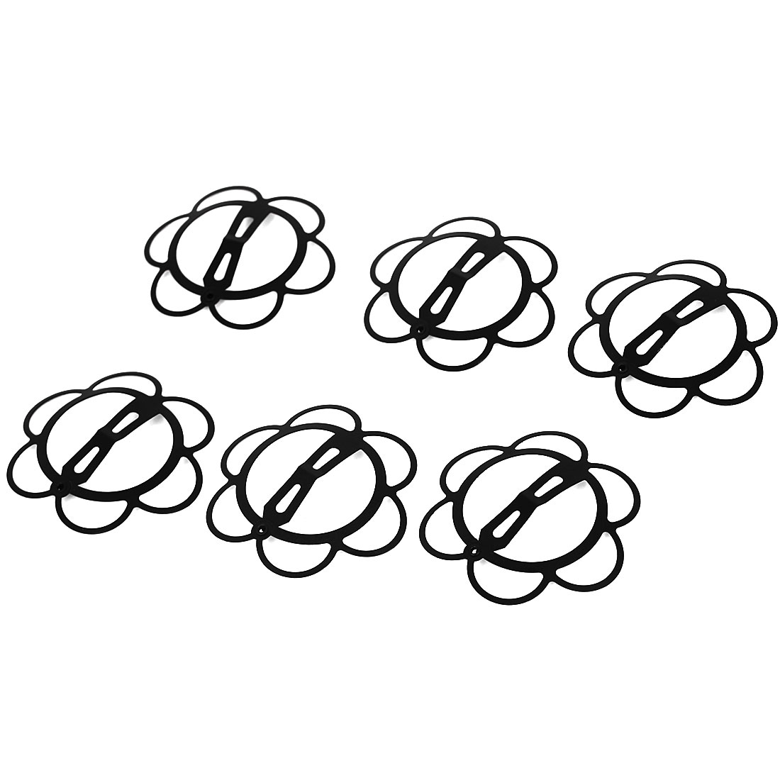 6pcs Flower Shape Bendy Snap Hair Clip Prong Hairpin Bobby Pin Slides Black
