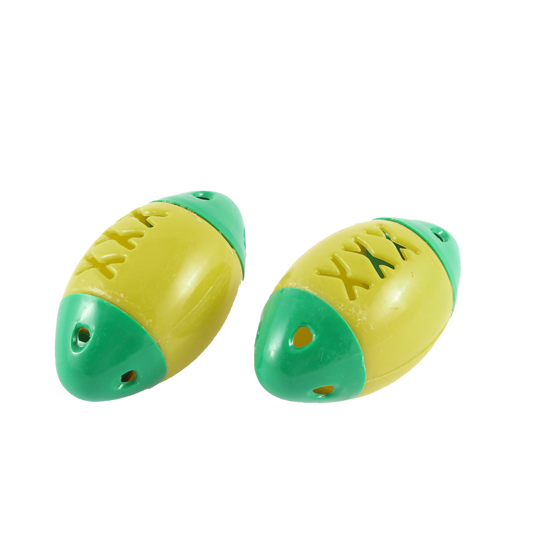 2Pcs Fish Shape Pet Cat Plastic Ball Bell Shaking Sound Toys Yellow Green