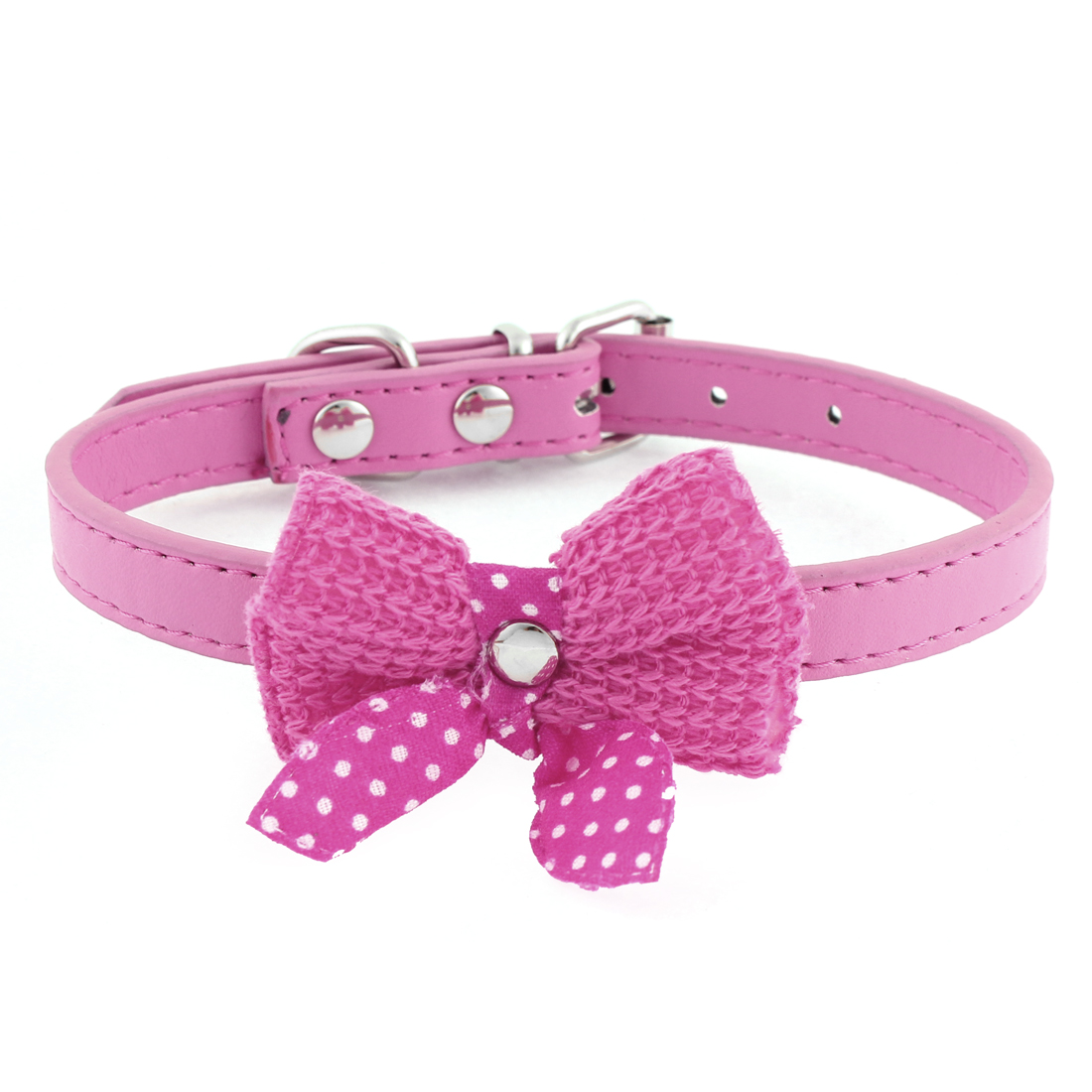 Single Pin Buckle Bow Bowknot Detail Pet Dog Kitty Collar 27-33cm Fuchsia