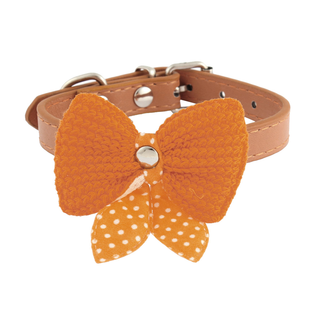 Single Pin Buckle Bow Bowknot Detail Pet Dog Kitty Collar 21-27.5cm Orange