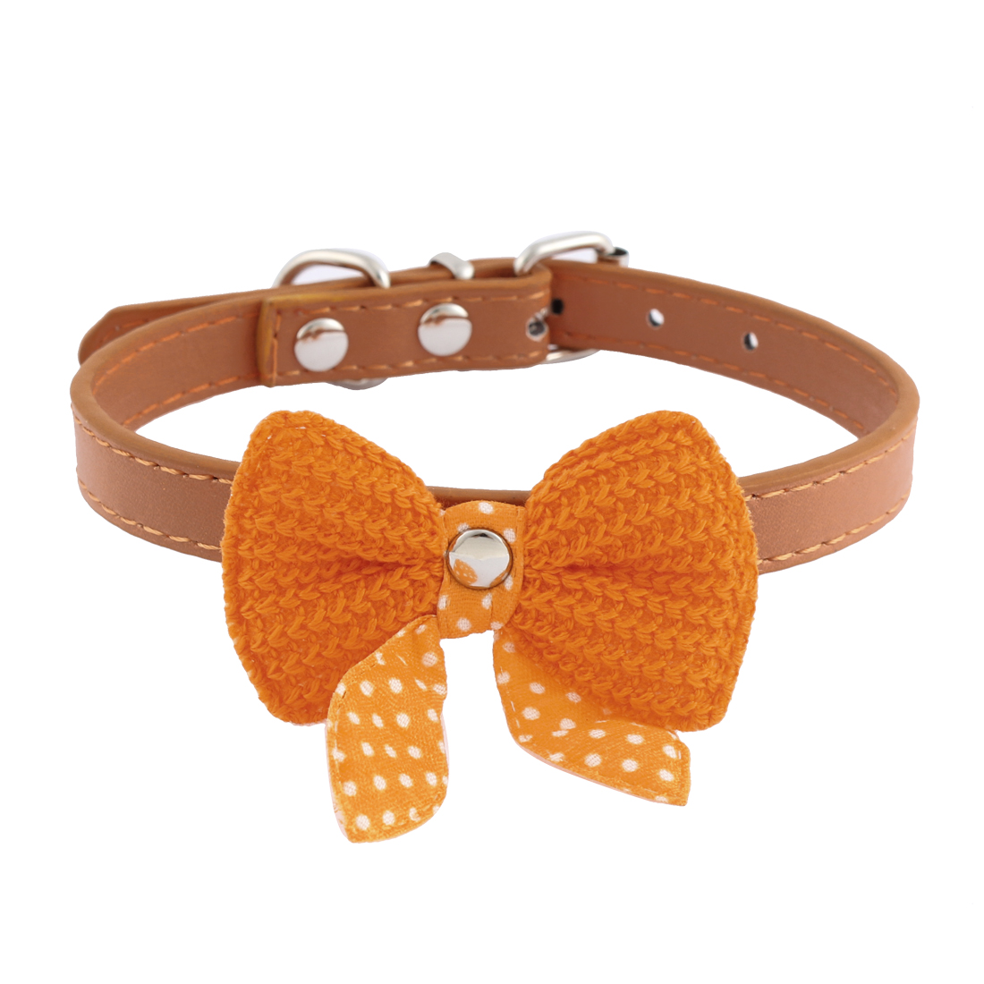 Single Pin Buckle Bow Bowknot Detail Pet Dog Kitty Collar 27-33cm Orange