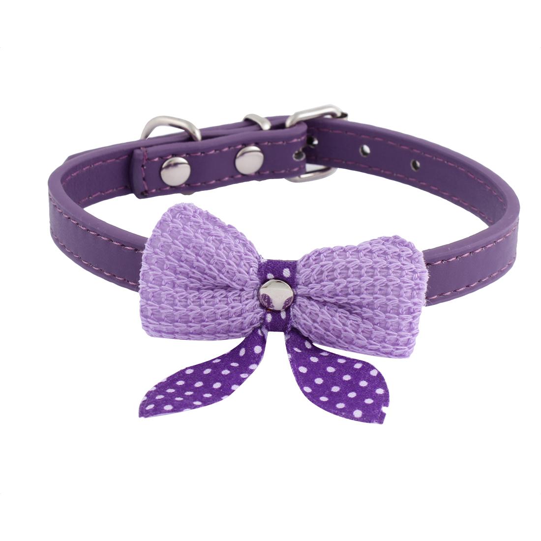 Single Pin Buckle Bow Bowknot Detail Pet Dog Kitty Collar 27-33cm Purple